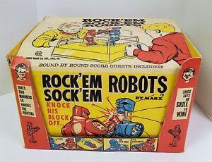I40 VINTAGE 1960'S MARX ROCKEM SOCKEM ROBOT SET W/ ORIGINAL BOX CROWD BACKGROUND