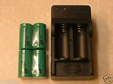 4 CR123A ULTRAFIRE BATTERY 3v RECHARGEABLE + CHARGER