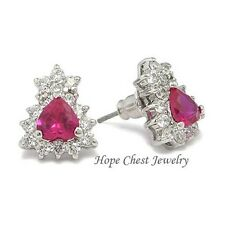 HCJ July Birthstone Silver Tone Heart Shape Ruby Red CZ Stud Earrings