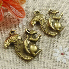 Free Ship 70 pieces Antique bronze squirrel charms 21x21mm #636