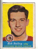 1957-58 Topps Hockey Card #19 Bob Bailey Chicago Black Hawks VG/EX.