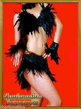 BLACK Feather LATIN BURLESQUE DIVA dance BRA BELT dress