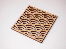 Coaster Wood Japanese Pattern Qinghai Wave Set of 4 Handmade Traditional Design