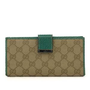 GUCCI GG Logo Beige Canvas Leather Long Bifold Wallet /E0763