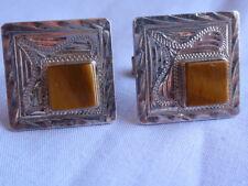 VINTAGE MEXICO SOLID SILVER STERLING 925 DIAMOND CUT TIGERS EYE CUFFLINKS