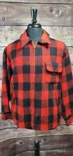 Men's Vintage 50s WOOLRICH Red/Black Buffalo Plaid Wool Talon Zip Coat Jacket 46