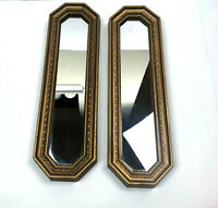 Vtg Wall Mirror Beveled Decorative Regal Geometric Syroco Ornate Gold Set Of 2