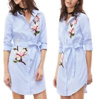 Women  Long Sleeve Embroidery Striped Blouse Loose Casual Shirt Mini Dress