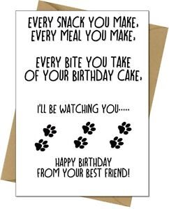 Funny Happy Birthday Card From The Dog For Mum Dad Husband Wife Free Postage