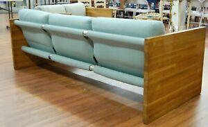 Mid Century Modern Milo Baughman style sling wood floating Sofa settee chair