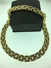 "Saks Fifth Avenue Very Striking Gold Tone Heavy Choker Necklace 17"" 119.6Grams"