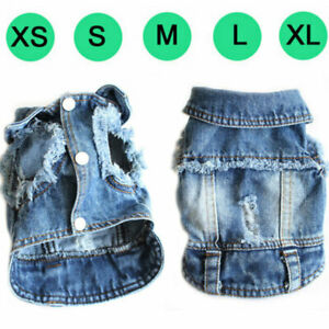 New Fashion Denim Dog Vest Coat Jean Jacket Outfits for Small Medium Dog and Cat