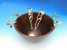 Olive Branch by Michael Aram Brass Gold Serving Set with Wood Serving Bowl - New