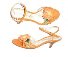 SACHA LONDON sandales cuir orange déco fleur P 37 TBE