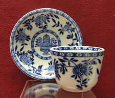 Antique STAFFORDSHIRE China Blue DELPH Pattern TEA BOWL & SAUCER by JAMES SHAW