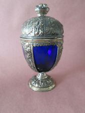 JENNINGS BROS. SPELTER CHALICE WITH COBALT GLASS INSERT AND LID MARKED JB 2221
