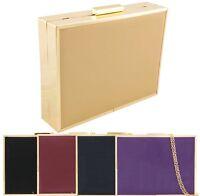 Ladies Designer Patent Style Box Rigid Clutch Bag Evening Bag Handbag K10011