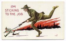 WWI ARMY Soldier Chasing German Bayonet by Bernhardt WALL Postcard c 1916