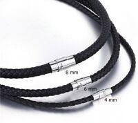 Cadena de cuero Pulsera trenzada acero inox. Imán Collar marrón negro 4-8mm