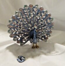 BEJEWELED BLUE PEACOCK TRINKET BOX WITH NECKLACE ~ NEW
