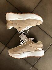 Zara Gold / Beige Suede Combi Platform Sneakers  Trainers UK6 EU39 US8 # 081