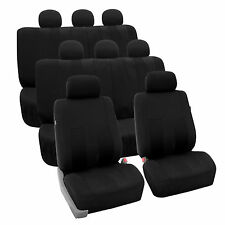 Black 3Row SUV Split bench Car Seat Covers Full Set Car Auto