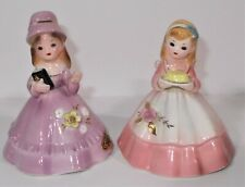 "Vintage Pair Josef Girl Bell Figures 1 w/ Bible 1 w/ Cake 3"" Tall Marked"