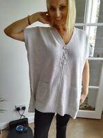 SALE! Karen Millen Autumn Poncho / jumper top Pale Grey KX076 size M fit 12/14