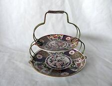 Vintage Japan Imari Ware Porcelain Floral Gold Rim Plates 2 Tiered Brass Holder