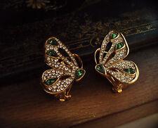 Vintage Mariposa Pendientes De Clip Con Cristales Transparente Y Turmalina Verde