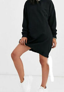 BLACK SLOUCHY POCKET HOODED SWEAT DRESS For UK Ladies And Women New Latest