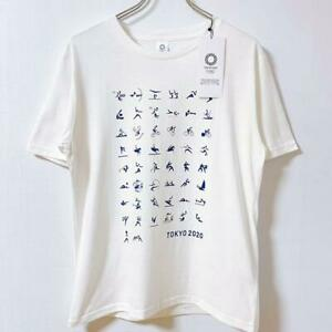 Tokyo 2020 Olympic Sports Pictogram T-shirt L Size Unisex White F/S