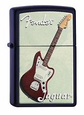 "ZIPPO ""GUITAR FENDER JAGUAR"" BLACK CRACKLE COLOR LIGHTER ** NEW IN BOX **"