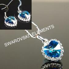 SALE 18K White Gold Filled Necklace & Earring made with Swarovski Crystal E495 P