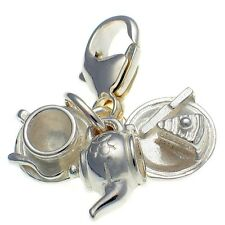 Tea Set 3 Pt Clip Charm. Teapot, Cup & Saucer, Cake & Plate Sterling 925 Silver.