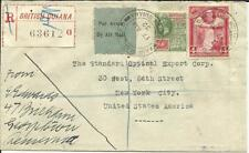 British Guiana SG#280(scarce on cover),#285 AIR MAIL 17/AU/32 Registered to USA