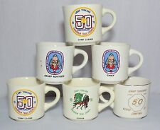 6 Boy Scout BSA Mugs Cups Camp Tonkawa Tahuaya Order of Arrow USA Vtg Gold Rim