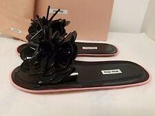 Miu Miu Runway Flower Flat Slide Sandal, Black/Rose Original:$890 Size 9.5B/39.5