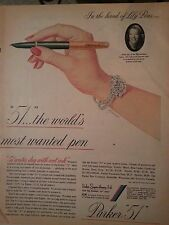 1948 Fountain Pen Parker 51 Lily Pons Worlds Most Wanted Pen Original Ad