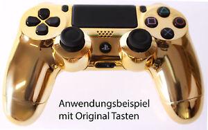 Für Playstation PS4 Controller Case Hülle Gehäuse Chrome Modding Cover Gold