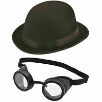Steam punk Black Plastic Goggles + Black Bowler Hat Victorian Fancy Dress Set