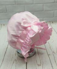 Baby Girl Christening Bonnet Sun Hat Pink 0-12 Months dots satin ribbon