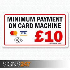 Minimum Payment £10 Sticker Mastercard Visa Contactless Printed Vinyl 130x70mm