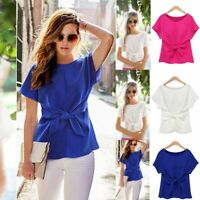 Fashion Womens Lady T-Shirt Bowtie Short Sleeve Casual Chiffon Shirt Tops Blouse