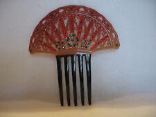 Lg Gorgeous Antique/Vintage Art Deco Collectible Celluloid Hair Comb w/ Stones