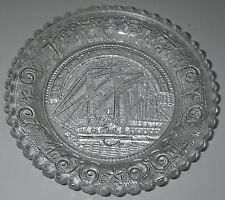 Westmoreland Glass SHIP BENJAMIN FRANKLIN Clear Cup PLATE Pressed.