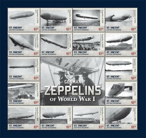 St. Vincent 2015 - German Zeppelins of WWI, Airships - Sheet of 16 Stamps - MNH