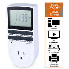7 Day Heavy Duty Digital Electric Programmable Timer Dual Outlet Plug In Switch