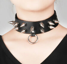 Gothic Black Punk Leather Necklace Choker Spikes O-Ring Cosplay Collar #38