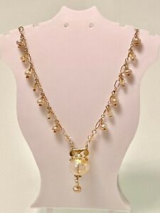 """UNIQUE~14KT GOLD FILLED~VINTAGE~MURANO GLASS&PEARL VICTORIAN DROP 17.5""""NECKLACE"""